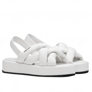 Prada Flatform Sandals In White Nappa Leather