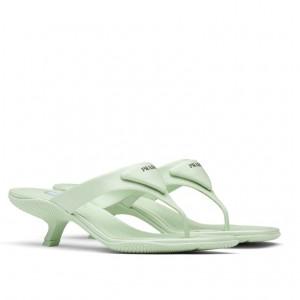 Prada High-heeled Thong Sandals In Aqua Brushed Leather
