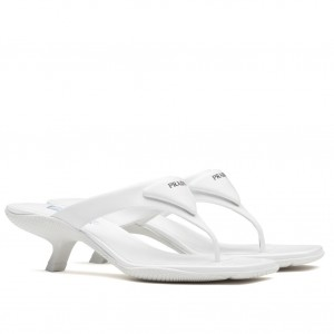 Prada High-heeled Thong Sandals In White Brushed Leather