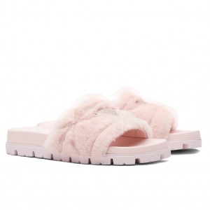 Prada Slide Slippers In Pink Quilted Shearling