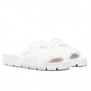 Prada Slide Slippers In White Quilted Shearling