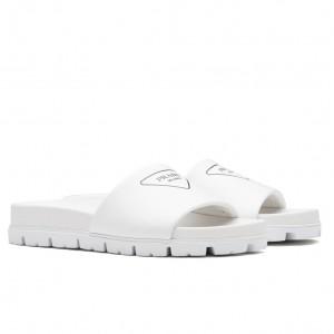 Prada Slide Sandals In White Leather