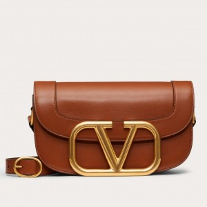 Valentino Supervee Crossbody Bag In Brown Leather