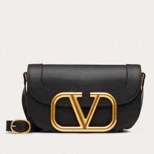 Valentino Supervee Crossbody Bag In Black Leather