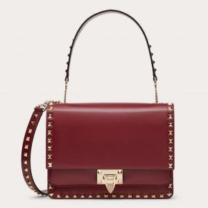Valentino Rockstud Crossbody Bag In Red Calfskin
