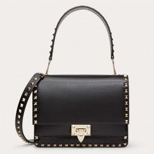 Valentino Rockstud Crossbody Bag In Black Calfskin