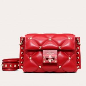 Valentino Mini Candystud Crossbody Bag In Red Lambskin