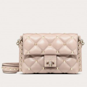 Valentino Small Candystud Crossbody Bag In Poudre Lambskin