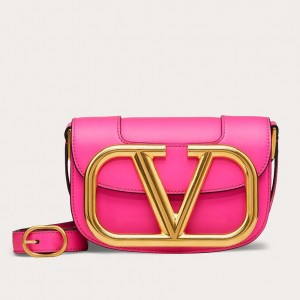 Valentino Small Supervee Crossbody Bag In Azalea Leather