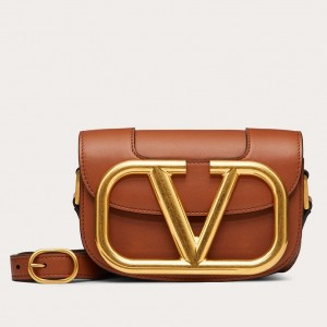 Valentino Small Supervee Crossbody Bag In Brown Leather