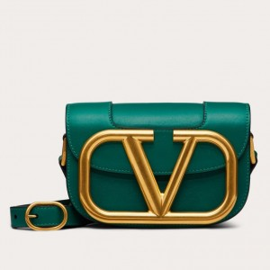 Valentino Small Supervee Crossbody Bag In Green Leather