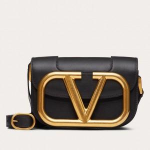 Valentino Small Supervee Crossbody Bag In Black Leather