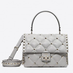 Valentino Light Grey Quilted Candystud Top Handle Bag