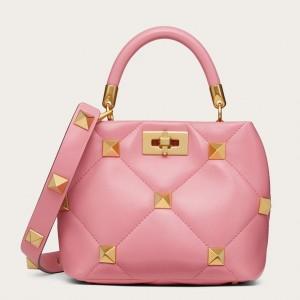 Valentino Small Roman Stud Top Handle Bag In Flamingo Nappa