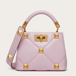 Valentino Small Roman Stud Top Handle Bag In Pink Nappa