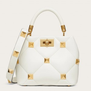 Valentino Small Roman Stud Top Handle Bag In White Nappa