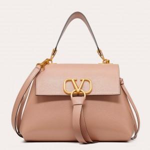 Valentino Small Vring Handbag In Pink Buffalo Leather