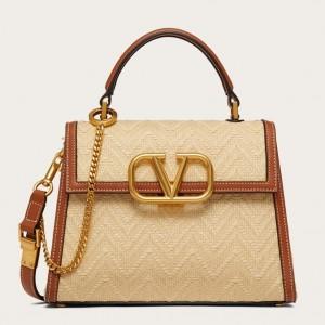 Valentino Small Vsling Handbag In Chevron Raffia