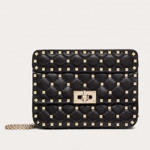 Valentino Rockstud Spike Small Bag In Black Lambskin