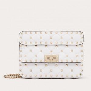Valentino Rockstud Spike Small Bag In White Lambskin
