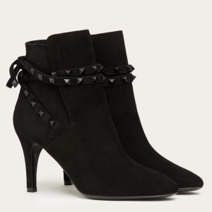 Valentino Rockstud Flair Ankle Boots 85 MM In Black Suede