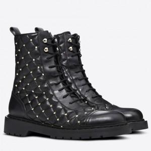 Valentino Garavani Black Combat Boot Rockstud Spike
