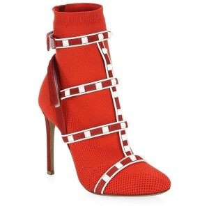 Valentino Red Cage Rockstud Sock Bootie 105mm