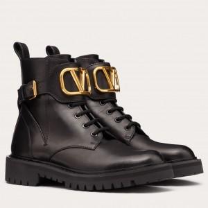 Valentino Vlogo Combat Boot 35MM In Black Leather