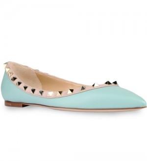 Valentino Garavani Ligh Blue Rockstud Ballerina Patent Flats