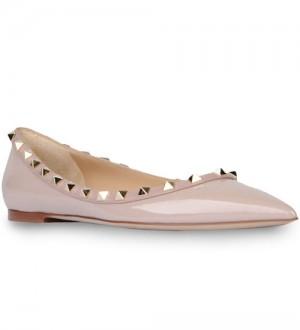 Valentino Garavani Poudre Rockstud Ballerina Patent Flats