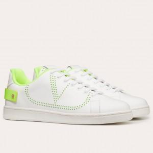 Valentino Men's Backnet VLOGO Sneakers With Lime Heel
