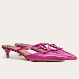 Valentino VLogo Mules 40mm In Hot Pink Patent Leather