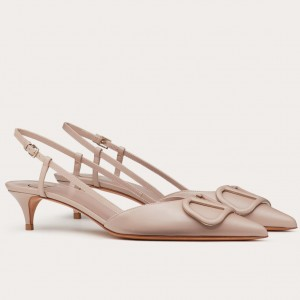 Valentino Vlogo Slingback 40mm Pumps In Poudre Leather