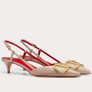 Valentino Vlogo Slingback Pumps 40mm In Poudre Leather