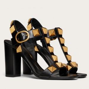 Valentino Roman Stud Sandals 90mm In Black Calfskin