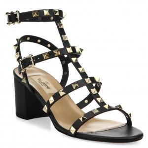 Valentino Black Rockstud Block Heel Cage Sandal