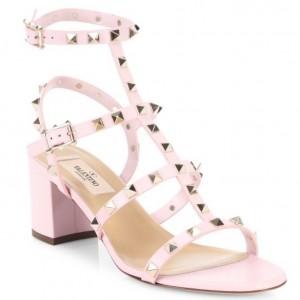 Valentino Pink Rockstud Block Heel Cage Sandal