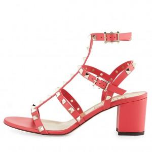 Valentino Red Rockstud Block Heel Cage Sandal
