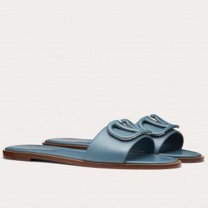 Valentino Vlogo Flat Slide Sandals In Amadeus Calfskin
