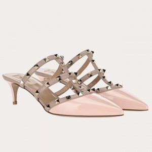 Valentino Rockstud Mules 50mm In Nude Patent Leather