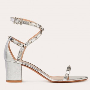 Valentino Rockstud Sandals 60mm In Silver Calfskin
