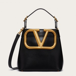Valentino Supervee Top Handle Bag In Black Calfskin