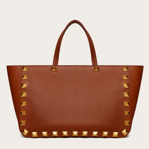 Valentino Roman Stud Tote Bag In Brown Grainy Calfskin
