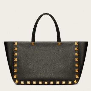 Valentino Roman Stud Tote Bag In Black Grainy Calfskin