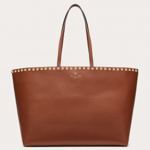 Valentino Rockstud Large Shopping Bag In Brown Leather