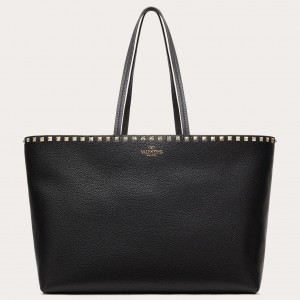 Valentino Rockstud Large Shopping Bag In Black Leather