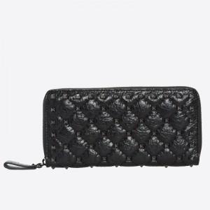 Valentino Rockstud Spike Zip Wallet In Black Lambskin