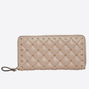 Valentino Rockstud Spike Zip Wallet In Pastel Pink Lambskin