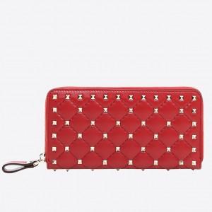 Valentino Rockstud Spike Zip Wallet In Red Lambskin