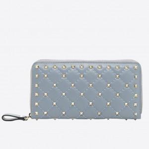 Valentino Rockstud Spike Zip Wallet In Sky Blue Lambskin